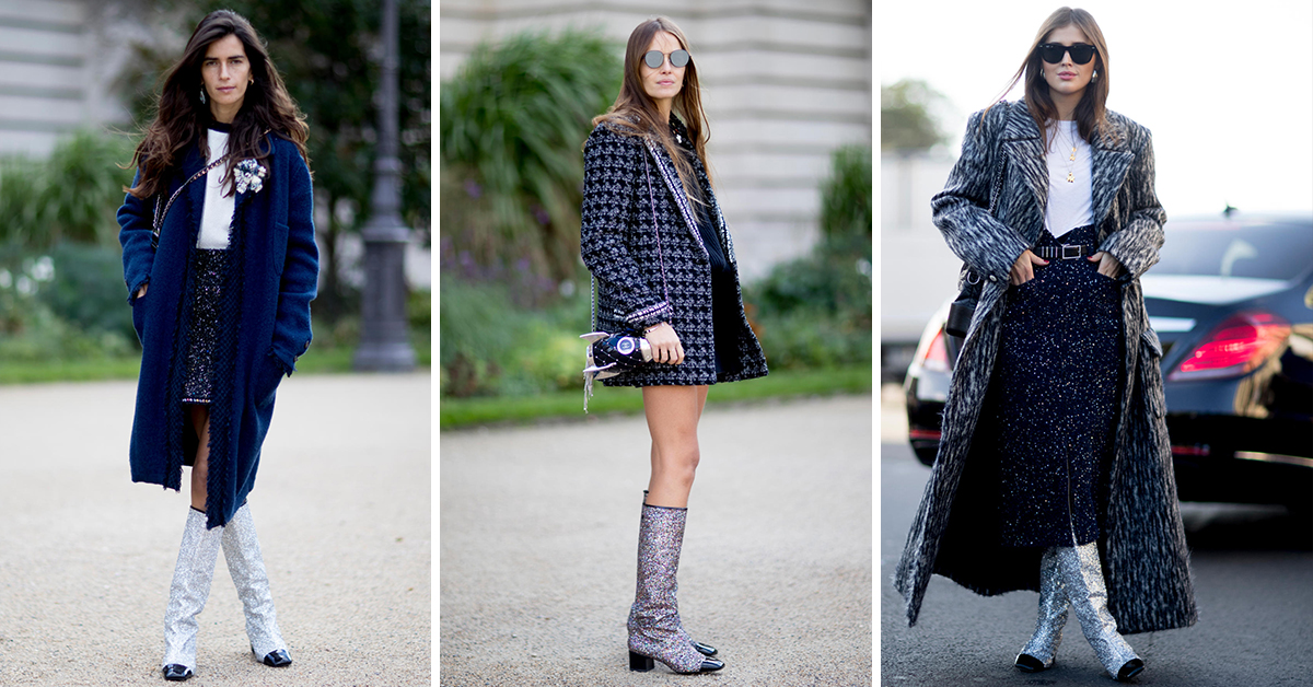 chanel glitter boots. the chanel fall/winter 2017 boots that every \ glitter